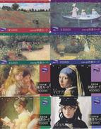 LOT De 8 Cartes Japon - Peinture / 2 SERIES COMPLETES - MONET FRAGONARD VERMEER MANET RENOIR - Japan Painting Cards - Peinture