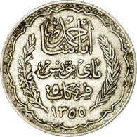 Monnaie, Tunisie, Muhammad Al-Amin Bey, 5 Francs, 1936/AH1355, Paris, TTB+ - Tunisia