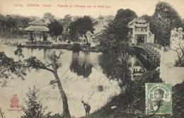 TONKIN Hanoi Pagode Du Pinceau Sur Le Petit Lac    + Beau Timbre 3c  Indochine RV - Viêt-Nam
