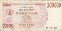 Zimbabwe - Billet De 200000 Dollars - 1er Juillet 2007 - Simbabwe