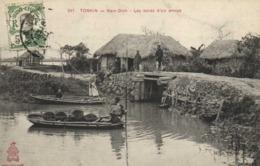 TONKIN Nam Dinh Les Bords D' Un Arroyo Animée  + Beau Timbre 5c Indochine RV - Viêt-Nam