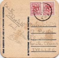 N°851 (2 Ex;) Sur Sous-bock Envoyé De Liège Vers Ixelles (1960) - 1951-1975 Heraldischer Löwe (Lion Héraldique)