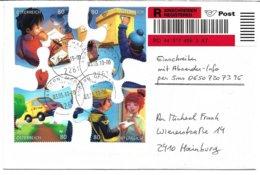 1617m: Österreich 2019, Einschreiben Mit Absender- Info Portogerechte Verwendung D. Blockmarken 2261 Angern An Der March - 2011-... Briefe U. Dokumente