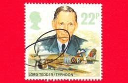 INGHILTERRA - GB - GRAN BRETAGNA - 1986 - Aviazione - Aerei - Royal Air Force - Lord Tedder - Typhoon - 22 - Usati