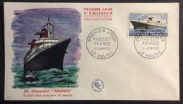 229- Paquebot France  1325 FDC Premier Jour 11/1/1962 Lettre - FDC