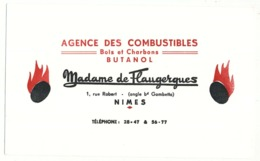 Buvard  22 X 13.5 Agence De Combustibles Bois Et Charbons Butanol MADAME DE FLAUGERGUES  à Nîmes Gard - Carte Assorbenti