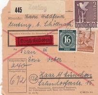 BiZone Paketkarte 1947: Zenting Nach Haar, Eilbote - Zone AAS