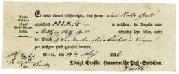 """""""MELLE"""" Weidlich Nr. 2 Postschein 1826 über """"1 Rolle Geld"""" - Deutschland"""