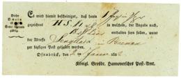 """""""OSNABRÜCK"""" Weidlich Nr. !2 Postschein 182"""" über Geldsendung Von 12 Louidor Nach Bremen - Deutschland"""