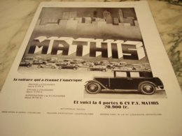 ANCIENNE PUBLICITE VOITURE QUI ETONNE L AMERIQUE  MATHIS 1931 - Pubblicitari
