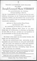Bidprentje - Joseph Verbist - Heist Op Den Berg - Berchem - Oorlogsvrijwilliger 14-18 - Décès