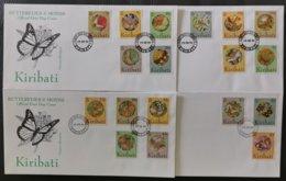 Kiribati 1994 Butterflies & Moths Definitives Complete On 4xFDCs - Butterflies
