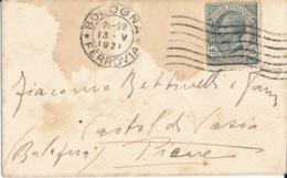 BOLOGNA /  CASTEL DI CASIO  13-5-1921 LETTERA  Leoni  15  Cent - 1900-44 Vittorio Emanuele III