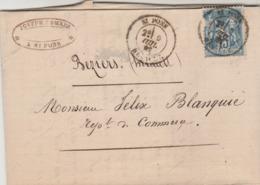 Yvert 90 Sage Lettre  Entête Combes Négociant ST PONS Hérault 5/7/1882 à Béziers - Marcophilie (Lettres)