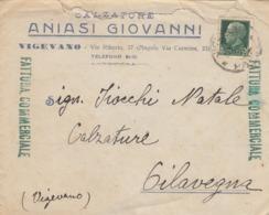 9597-BUSTA PUBBLICITARIA CALZATURE ANIASI GIOVANNI-VIGEVANO(PV)-1940 - Werbung