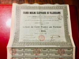 Les  Grands  Moulins  Électriques  De  Villeurbanne -------Action  De  100 Frs - Industrie