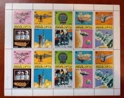 State Of Oman 1970 - Space Aviation History - Perf Full Sheet (70.12) - Cosmos Moon Landing Astronauts Rocket Rare MNH - Emirati Arabi Uniti