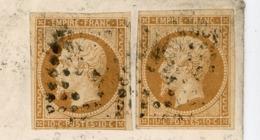 PARIS ENV 1861 PARIS F  2 X 10C EMPIRE ND BUREAU F LOSANGE F - Poststempel (Briefe)