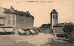 9509-2019     GOURDON     PLACE ET EGLISE DES CORDELIERS - Gourdon