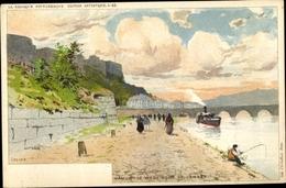 Artiste Lithographie Namur Wallonien, Le Vieux Pont De Jambes, Angler - België