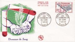 France Premier Jour D'Émission FDC Cover 1959 Donneurs De Sang Blood Donor Blutspende - 1957-59 Mäherin