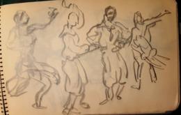 CIRQUE CIRCUS GUIGNOL CARNET DE 63 DESSINS ORIGINAUX MINE DE PLOMB CLOWNS ECUYERES ACROBATES 1950 - Altre Collezioni