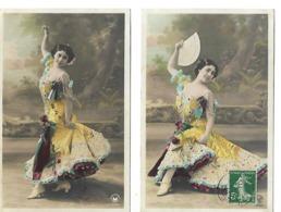 2 Cartes Fantaisie / Jeune Femme Robe Genre Flamenco, éventail /  Editeur Croissant N°3952 - Donne