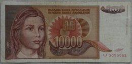 Billete Yugoslavia. 10.000 Dinares. 1992. - Yugoslavia