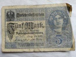 Billete Alemania. 5 Marcos. 1917. 1ª Guerra Mundial. - [ 2] 1871-1918 : Imperio Alemán