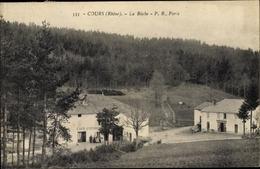 Cp Cours Rhône, La Buche, Café, Häuser, Wald - France