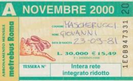 ABBONAMENTO ATAC ROMA NOVEMBRE 2000 (BK128 - Season Ticket