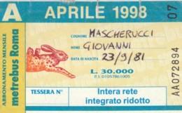 ABBONAMENTO ATAC ROMA APRILE 1998 (BK131 - Season Ticket