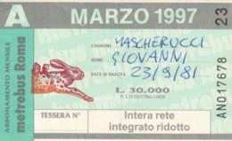 ABBONAMENTO ATAC ROMA MARZO 1998 (BK133 - Season Ticket