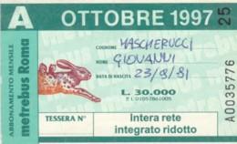 ABBONAMENTO ATAC ROMA OTTOBRE 1997 (BK134 - Season Ticket