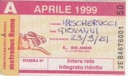 ABBONAMENTO ATAC ROMA APRILE 1999 (BK135 - Season Ticket