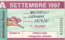 ABBONAMENTO ATAC ROMA SETTEMBRE 1997 (BK139 - Season Ticket