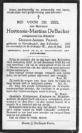 Bidprentje - Hortensia De Backer - Picavet - Verrebroeck - Sint Niklaas - Boda