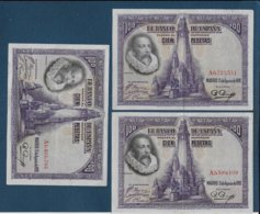 Espagne  - 3 Billets De 100 Psetas De 1928 ( Série A ) - [ 2] 1931-1936 : Republiek