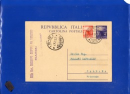 ##(DAN1911)-27-1-1947-Cartolina Postale L.4 Da Querceta (Lucca) Per Caldana (Grosseto) Frazionario 30-12, Gemello L.4 - 6. 1946-.. Repubblica