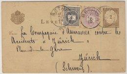 Ungarn - 2 K. Brief/Wertziffer GA-Karte + Zusatz I.d. SCHWEIZ, Bethlen - Zürich - Hungary