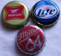 Lote 3 Chapas Kronkorken Caps Tappi Cerveza Miller. Estados Unidos De América - Cerveza