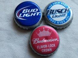 Lote 3 Chapas Kronkorken Caps Tappi Cerveza Anheuser Busch. Estados Unidos De América - Cerveza