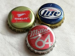 Lote 3 Chapas Kronkorken Caps Tappi Cerveza Miller. Estados Unidos De América. - Cerveza