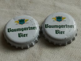 Lote 2 Chapas Kronkorken Caps Tappi Cerveza Baumgartner Bier. Austria. - Cerveza