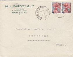 France M. L. PARISOT & Cie, BEAUNE ENTREPOT 1959 Cover Lettre BURGDORF Suisse 2x Marianne á La Nef Timbres - 1959-60 Marianne (am Bug)