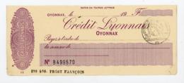 CHEQUE DU CREDIT LYONNAIS OYONNAX OBLITÉRÉ DU TIMBRE QUITTANCE À 20 Cts - Cheques En Traveller's Cheques