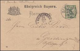 Bayern Postkarte Ziffer 5 Pf Grün DV 95: NEU ULM 26.9.95 Nach Geislingen 26.9.95 - Bayern (Baviera)
