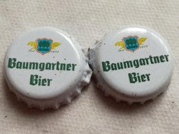 Lote 2 Chapas Kronkorken Caps Tappi Cerveza Baumgartner Bier. Austria - Cerveza
