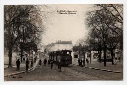 - CPA JARNAC (16) - Place Du Château (belle Animation Avec Tramway) - Edition L. Lebon - - Jarnac