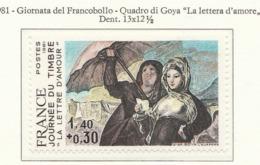 """PIA - FRAN -1981 : Giornata Del Francobollo - Quadro Di Goya """"La Lettera D'amore""""  - (Yv 2124) - Giornata Del Francobollo"""